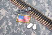 US ARMY concept - camouflage background with US flag — Stock Photo