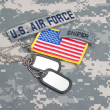 US ARMY airborne tab with blank dog tags — Stock Photo #45019591