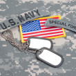 US ARMY ranger tab with blank dog tags — Stock Photo #45019735