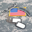US ARMY ranger tab with blank dog tags — Stock Photo #45019791