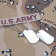 US ARMY ranger tab with blank dog tags — Stock Photo #45019957
