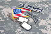 US ARMY airborne tab with blank dog tags — Stock Photo