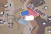 US ARMY ranger tab with blank dog tags — Stock Photo