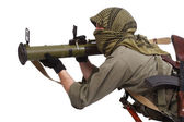 Mercenary with anti-tank launcher — Stock Photo