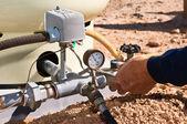Replacing a pressure gauge — Stock Photo