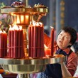 Buddhist Temple Candles — Stock Photo