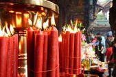 佛教寺庙蜡烛 — 图库照片