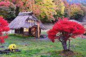 Chozas y follaje de otoño — Foto de Stock