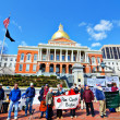 Stock Photo: Protesters at Massachusetts State House