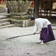 Shinto Priest Attending Zen Garden — Stock Photo #40114117