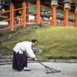 Shinto Priest Attending Zen Garden — Stock Photo #40114275