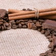 Background from coffee of bobs, chocolate, cinnamon and anise — Stock Photo #33527119