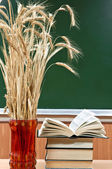 Books and vase with the ears of wheat on a background a school b — Stok fotoğraf
