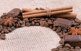 Background from coffee of bobs, chocolate, cinnamon and anise — Stock Photo