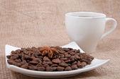 Coffee, cup, grain, anise — Stock Photo