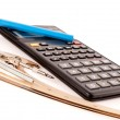 Pencil on a calculator, compasses and French curve on white — Stock Photo