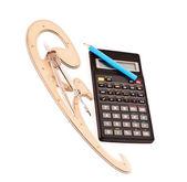 Bleistift auf einen taschenrechner, zirkel und französisch kurve auf weiß — Stockfoto