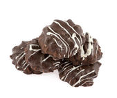 Round chocolate thin biscuits on a white background — Stock Photo