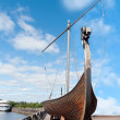 Old drakkar Viking boat on the waterfront — Stock Photo