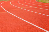 Dividing line running track at the stadium — Stockfoto