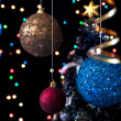 Christmas balls on the background of a decorated Christmas tree — Foto de Stock