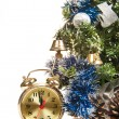 Round-the-clock on background of decorated Christmas tree — Stock Photo #33667591