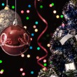 Two Christmas tree ball,the serpentine,a decorated Christmas tree — Stock Photo #33667617