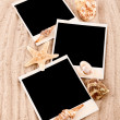 Three cards on the sand — Stock Photo