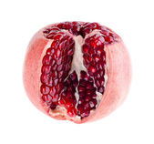 Pomegranate fruit is cut with grains on a white background — Stock Photo