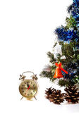 Clock,bumps on the decorated Christmas tree — Stock Photo