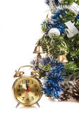 Round-the-clock on the background of a decorated Christmas tree — Stock Photo