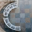 Stock Photo: Iron bench in semicircle top view