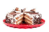 Chocolate cake on red plate — Stok fotoğraf