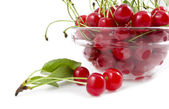 A cherry with a branch lies near a dish — Stock Photo