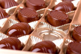Empty cells in a box of chocolates — Stock Photo