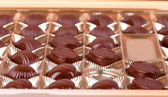 Chocolate sweets lie in the cells of the boxes — Stock Photo
