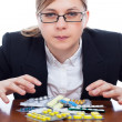 Woman and pharmaceuticals — Stock Photo