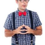Funny curious nerd man — Stock Photo