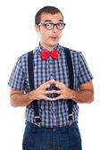 Homem engraçado nerd curioso — Foto Stock