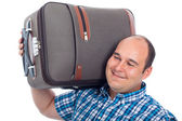 Happy passenger man with luggage — Stock Photo