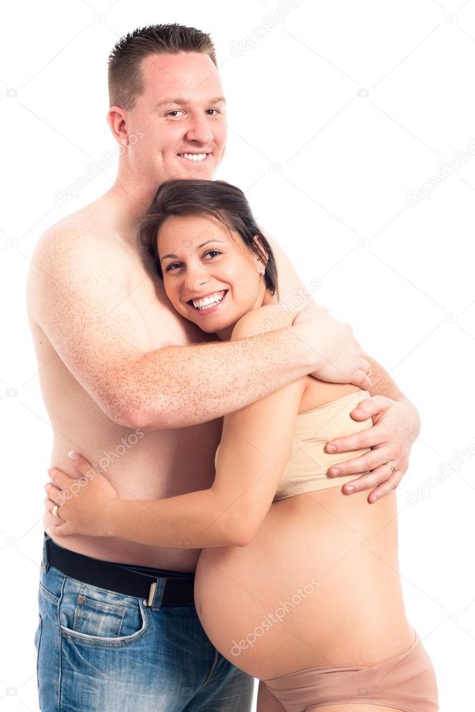 Муж ласкает беременную