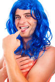 Funny transvestite in blue wig — Stock Photo