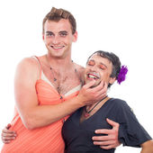 Laughing transvestites having fun — Stock Photo