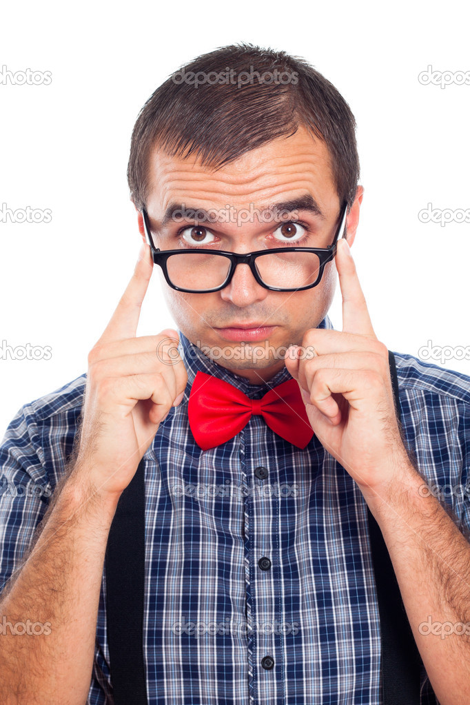 Close up of funny geek man, isolated on white background.  Stock Photo #13476001