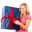 Young beautiful happy woman with big gift — Stock Photo