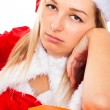 Bored female Santa waiting for Christmas — Stock Photo