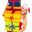Laughing Santa woman with Christmas gifts — Stock Photo