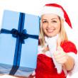 glad santa kvinna med julklapp — Stockfoto