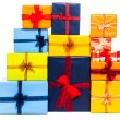 Many colorful gift boxes — Stock Photo #14339523