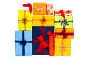 Many colorful Christmas gift boxes — Stock Photo